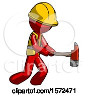 Red Construction Worker Contractor Man With Ax Hitting Striking Or Chopping
