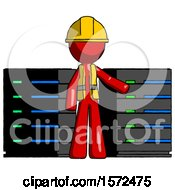 Red Construction Worker Contractor Man With Server Racks In Front Of Two Networked Systems