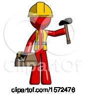Red Construction Worker Contractor Man Holding Tools And Toolchest Ready To Work