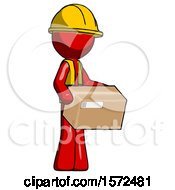 Red Construction Worker Contractor Man Holding Package To Send Or Recieve In Mail