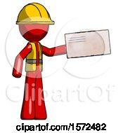 Red Construction Worker Contractor Man Holding Large Envelope