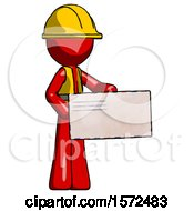 Red Construction Worker Contractor Man Presenting Large Envelope