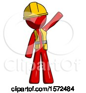 Red Construction Worker Contractor Man Waving Emphatically With Left Arm