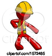 Red Construction Worker Contractor Man Karate Defense Pose Right