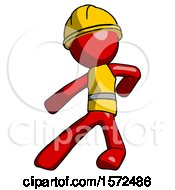 Red Construction Worker Contractor Man Karate Defense Pose Left