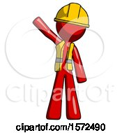 Red Construction Worker Contractor Man Waving Emphatically With Right Arm