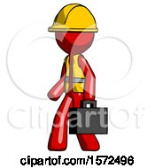 Red Construction Worker Contractor Man Walking With Briefcase To The Left