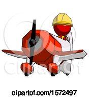 Red Construction Worker Contractor Man Flying In Geebee Stunt Plane Viewed From Below