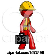 Red Construction Worker Contractor Man Walking With Briefcase To The Right