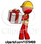 Red Construction Worker Contractor Man Presenting A Present With Large Red Bow On It