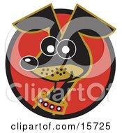 Alert And Cute Hyper Little Dachshund Dog Clipart Illustration