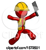 Red Construction Worker Contractor Man Psycho Running With Meat Cleaver