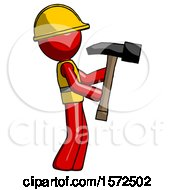 Red Construction Worker Contractor Man Hammering Something On The Right