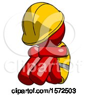 Red Construction Worker Contractor Man Sitting With Head Down Facing Angle Left