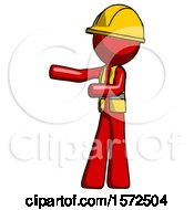 Red Construction Worker Contractor Man Presenting Something To His Right
