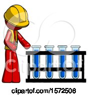 Red Construction Worker Contractor Man Using Test Tubes Or Vials On Rack