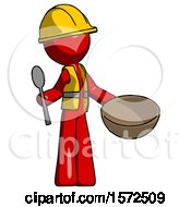 Red Construction Worker Contractor Man With Empty Bowl And Spoon Ready To Make Something