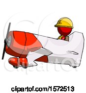 Red Construction Worker Contractor Man In Geebee Stunt Aircraft Side View