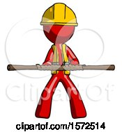 Red Construction Worker Contractor Man Bo Staff Kung Fu Defense Pose