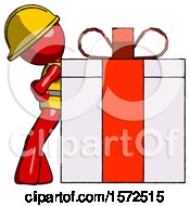 Red Construction Worker Contractor Man Gift Concept Leaning Against Large Present