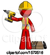 Red Construction Worker Contractor Man Holding Drill Ready To Work Toolchest And Tools To Right
