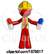 Red Construction Worker Contractor Man Holding A Red Pill And Blue Pill