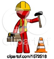 Red Construction Worker Contractor Man Under Construction Concept Traffic Cone And Tools