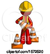 Red Construction Worker Contractor Man Holding A Traffic Cone