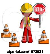 Red Construction Worker Contractor Man Holding Stop Sign By Traffic Cones Under Construction Concept