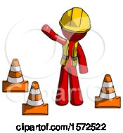 Red Construction Worker Contractor Man Standing By Traffic Cones Waving
