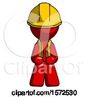 Red Construction Worker Contractor Man Squatting Facing Front