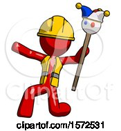 Red Construction Worker Contractor Man Holding Jester Staff Posing Charismatically