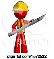 Red Construction Worker Contractor Man Holding Large Scalpel