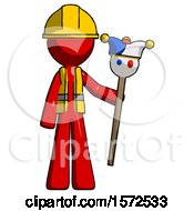 Red Construction Worker Contractor Man Holding Jester Staff