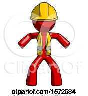 Red Construction Worker Contractor Male Sumo Wrestling Power Pose