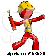 Red Construction Worker Contractor Man Throwing Dynamite