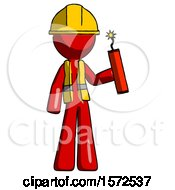 Red Construction Worker Contractor Man Holding Dynamite With Fuse Lit
