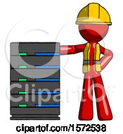 Red Construction Worker Contractor Man With Server Rack Leaning Confidently Against It