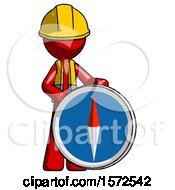 Red Construction Worker Contractor Man Standing Beside Large Compass