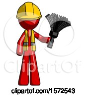Red Construction Worker Contractor Man Holding Feather Duster Facing Forward