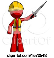 Red Construction Worker Contractor Man Holding Sword In The Air Victoriously