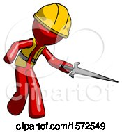 Red Construction Worker Contractor Man Sword Pose Stabbing Or Jabbing