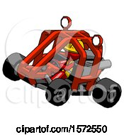 Red Construction Worker Contractor Man Riding Sports Buggy Side Top Angle View
