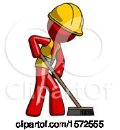 Red Construction Worker Contractor Man Cleaning Services Janitor Sweeping Side View
