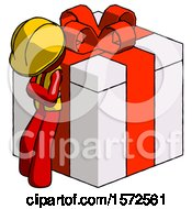 Red Construction Worker Contractor Man Leaning On Gift With Red Bow Angle View
