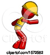 Red Construction Worker Contractor Man Sneaking While Reaching For Something