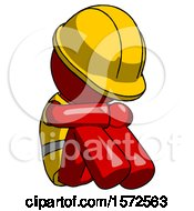 Red Construction Worker Contractor Man Sitting With Head Down Facing Angle Right