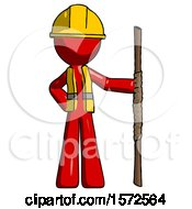 Red Construction Worker Contractor Man Holding Staff Or Bo Staff