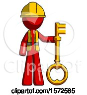 Red Construction Worker Contractor Man Holding Key Made Of Gold
