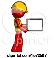 Red Construction Worker Contractor Man Show Tablet Device Computer To Viewer Blank Area